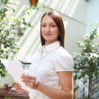 Young business woman outdoors - Stock Photo