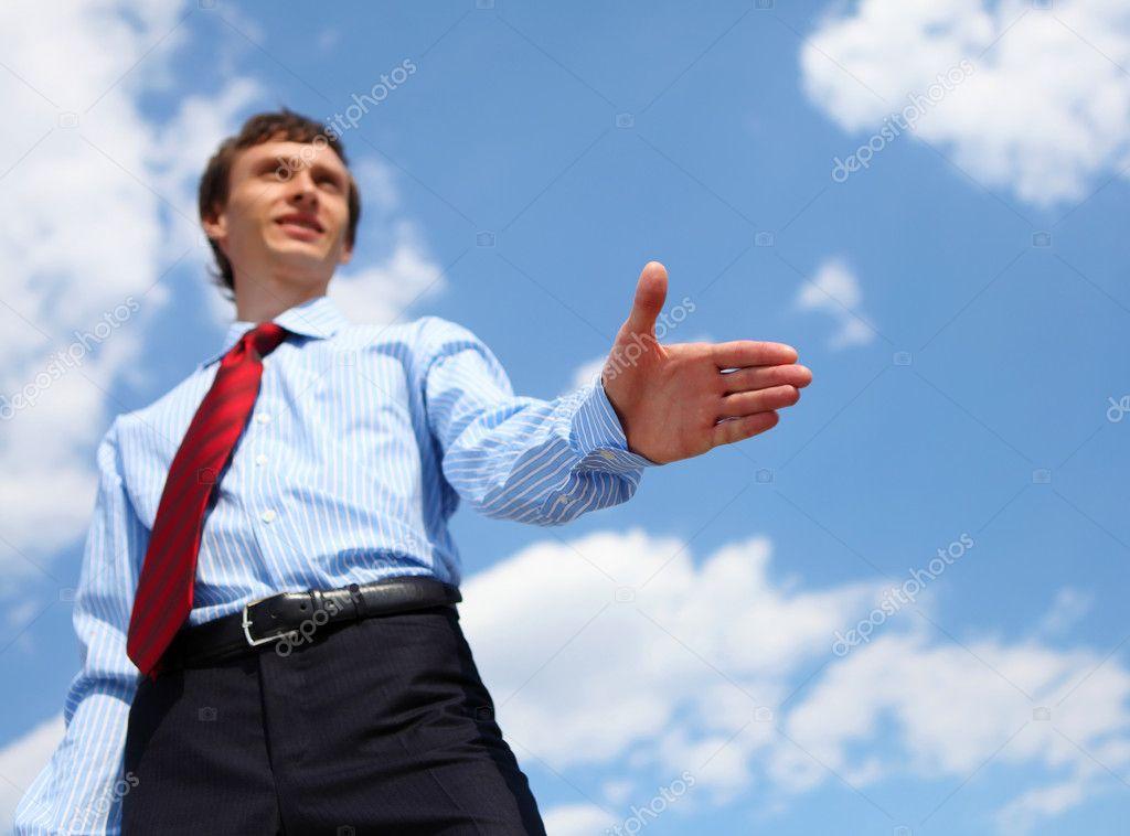 junger gesch ftsmann in ein blaues hemd und eine rote krawatte stockfoto sergeynivens 5716422. Black Bedroom Furniture Sets. Home Design Ideas