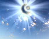 Musulmanes estrella y luna en el cielo azul — Foto de Stock