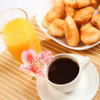 Breakfast coffee and croissants — Stock Photo #5731321