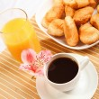 Stock Photo: Breakfast coffee and croissants