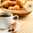 Breakfast coffee and croissants - Stockfoto