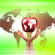 Hands holding apple representing earth — Stock Photo