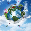 Earth with the different elements — Stock Photo