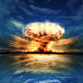 Nuclear explosion in an outdoor setting — Foto Stock