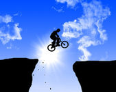 Man jumping on the rocks — Stock Photo