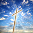 Christian cross against the sky — Foto Stock