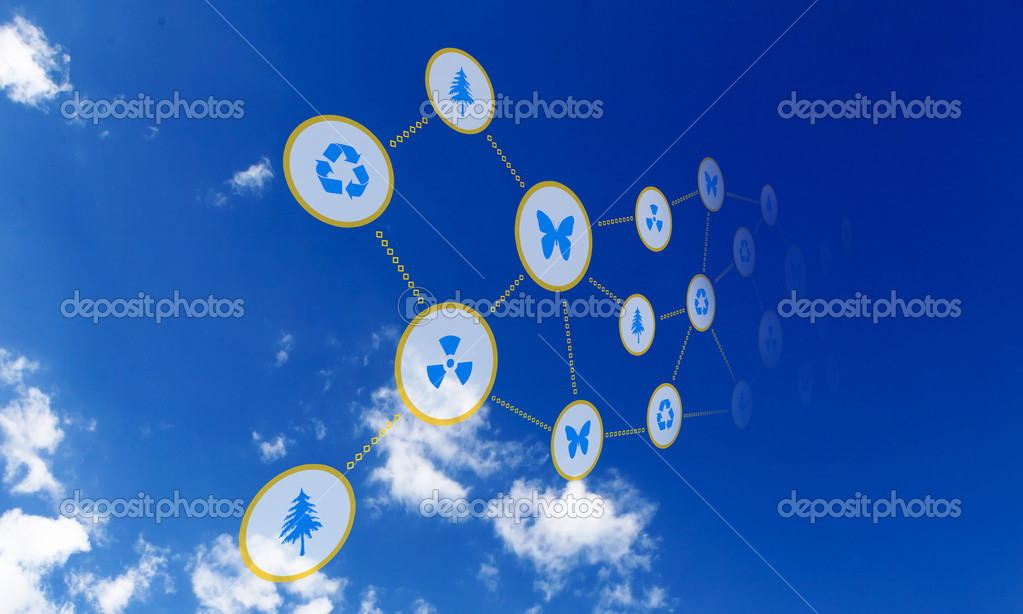 Elements of the social network against the sky. Signs and symbols combined into a single network. — Stock Photo #5761235