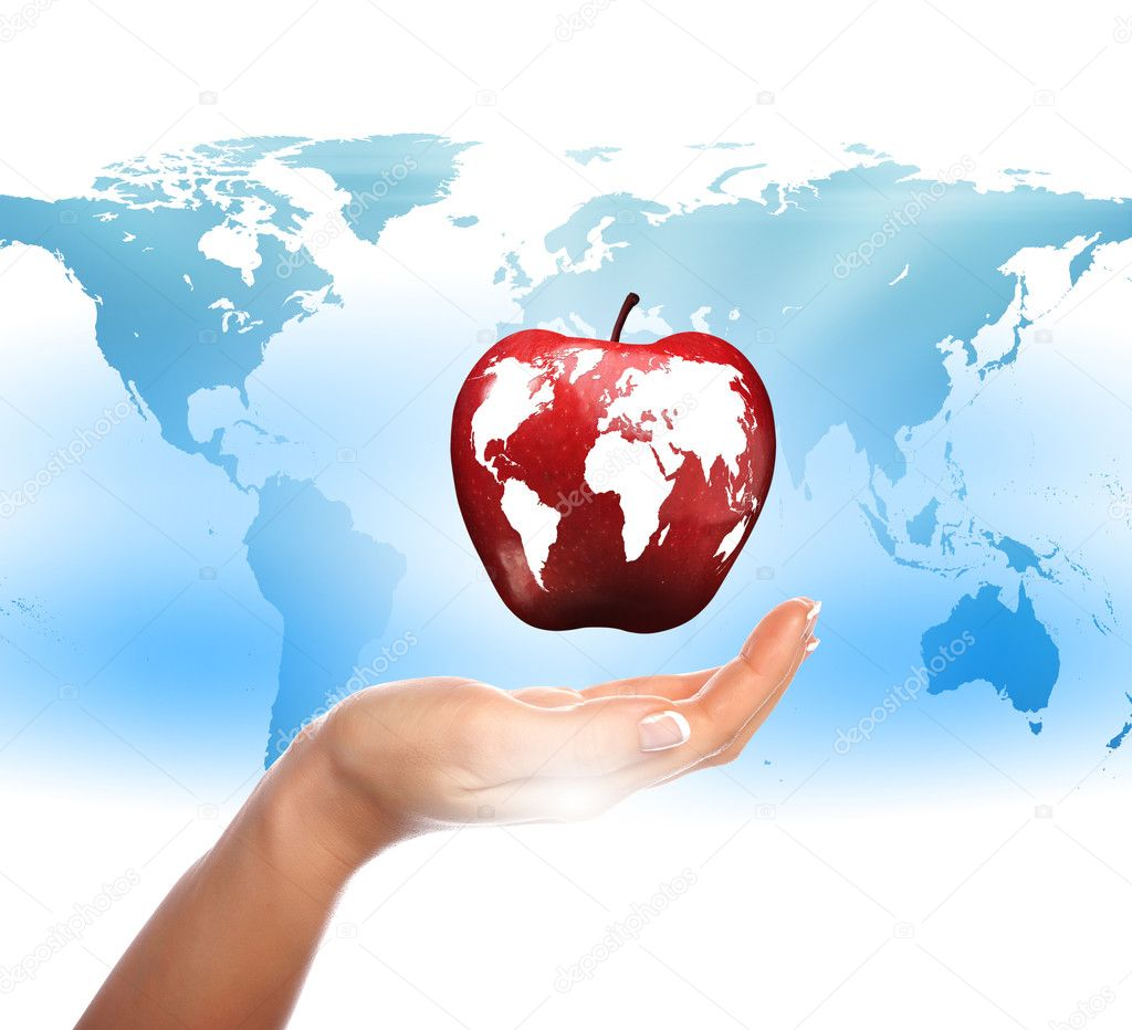 Human hands holding apple representing planet earth  Stock Photo #5761379
