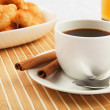 Breakfast coffee and croissants — Stock Photo #5773029