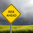 Stock Photo: Road sign of risk ahead
