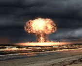 Nuclear explosion in an outdoor setting — Foto de Stock