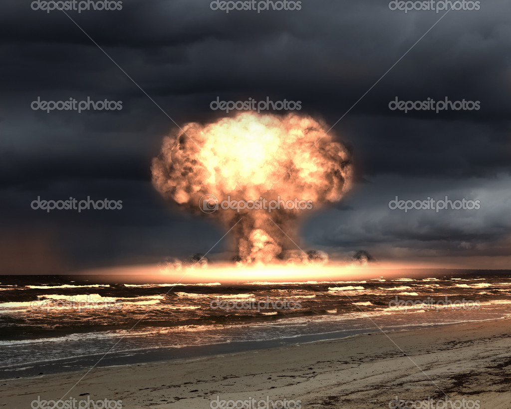Nuclear explosion in an outdoor setting. Symbol of environmental protection and the dangers of nuclear energy. — Stok fotoğraf #5777372
