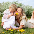 Girl with mother in the park — Stock Photo #5782672