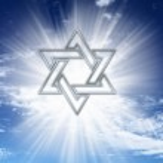 David star on blue sky — Stock Photo
