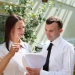 Business having discussion outdoors — Stock Photo