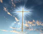 Christian cross against the sky — Stock Photo