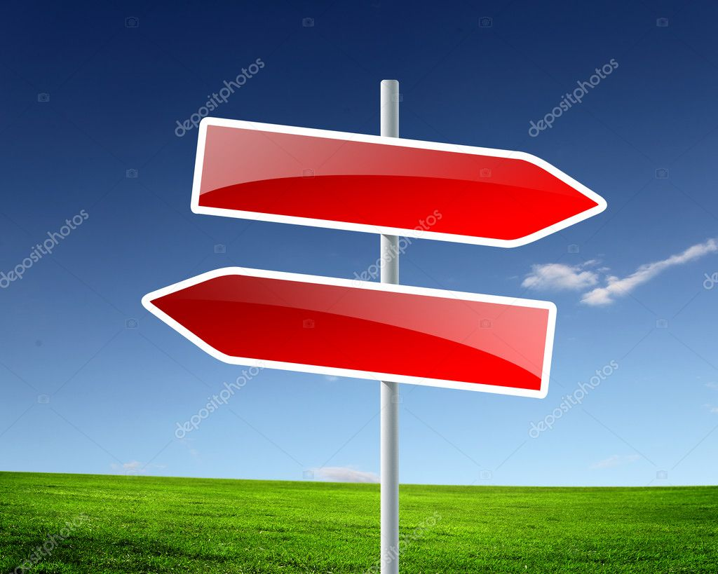 Two road signs against blue skies on the background — Stock Photo #5808809