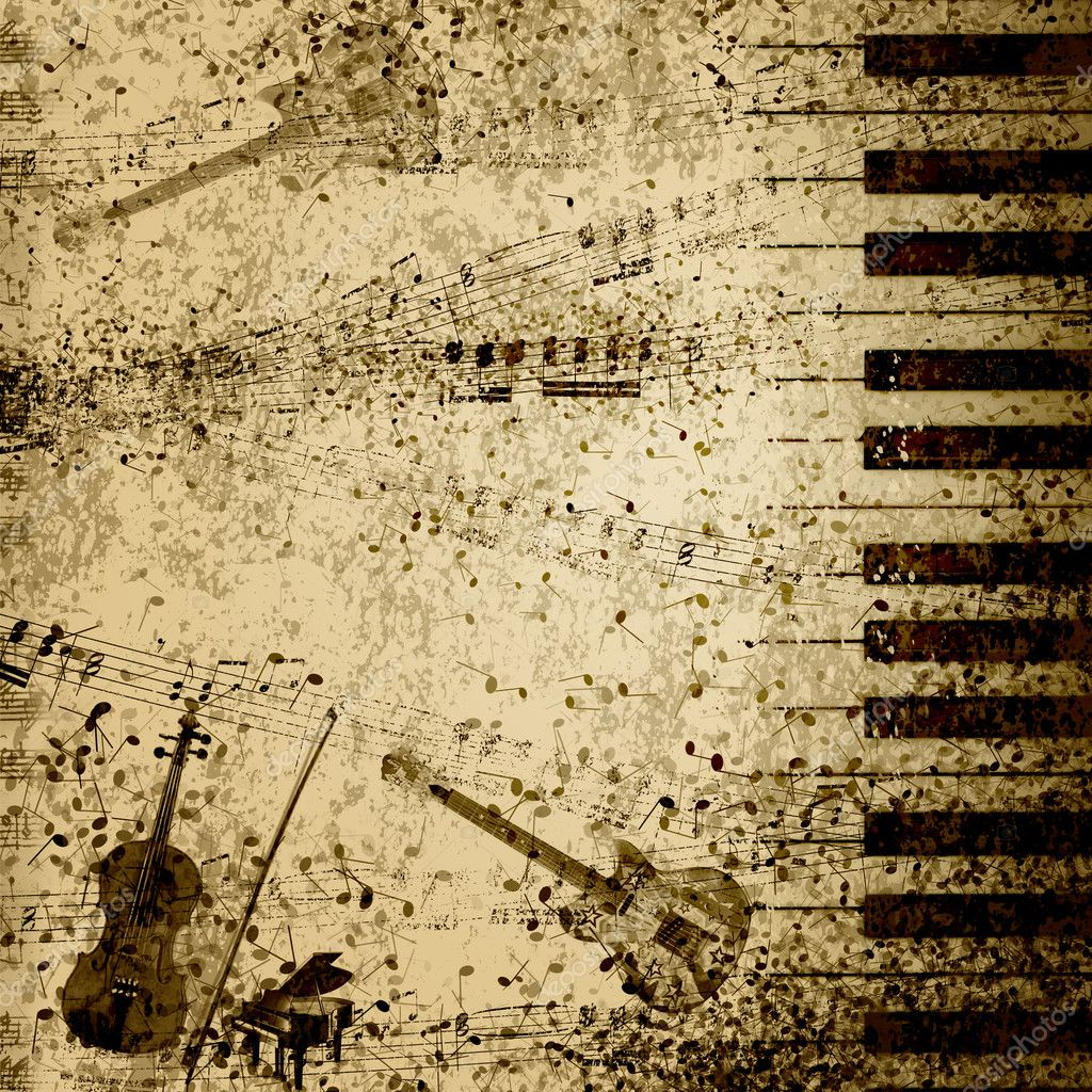 Music notes on old paper sheet background — Stock Photo #5831169