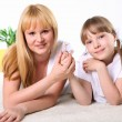 Mother with daughter in studio - Stock Photo