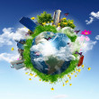 Earth with the different elements - Stock Photo