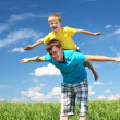 Father with son in summer day outdoors — Stock Photo #5848719