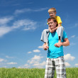 Father with son in summer day outdoors — Stock Photo