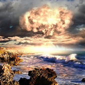 Nuclear explosion in an outdoor setting — Stock Photo