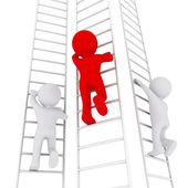 3D man climbing up the ladder — Stock Photo