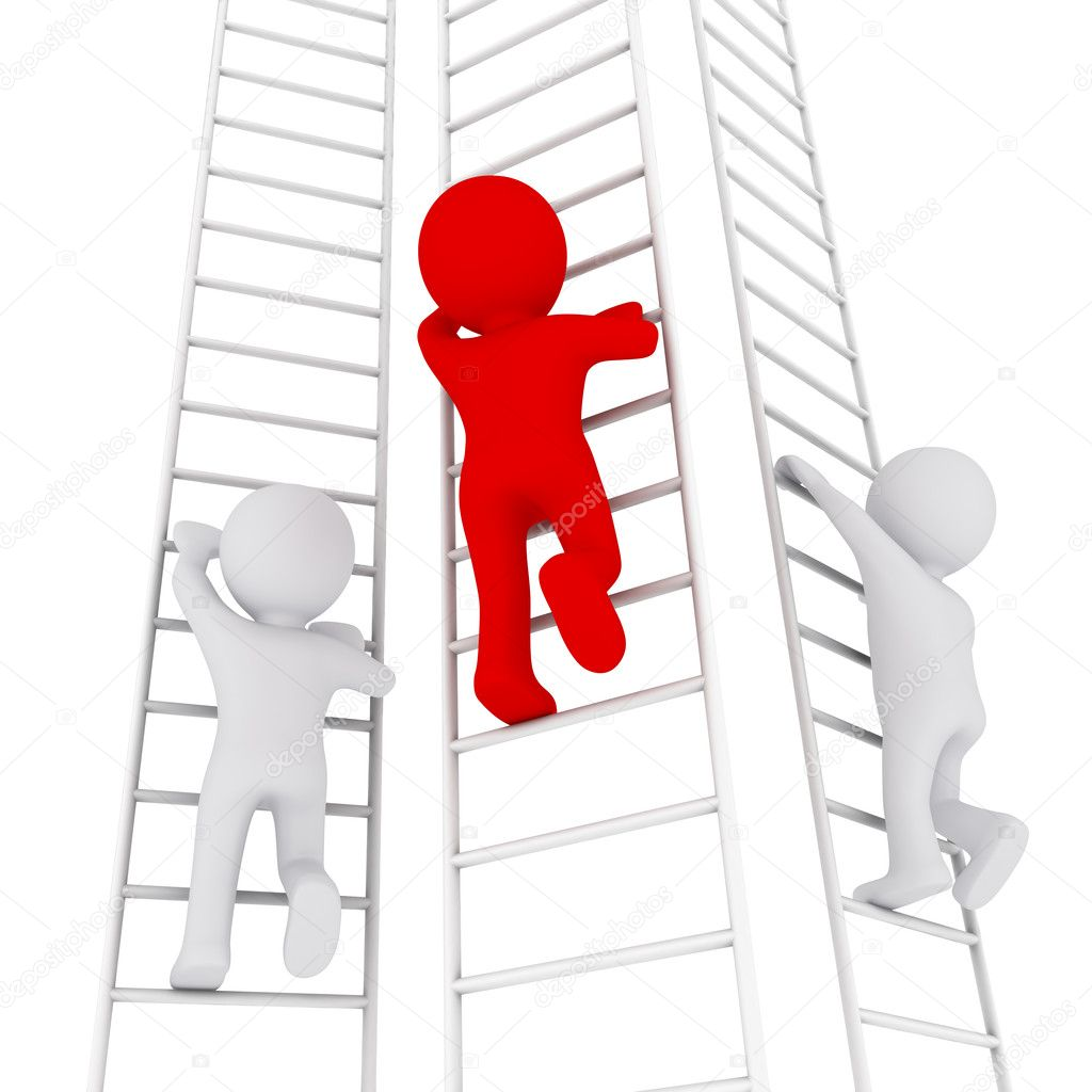d man climbing up the ladder stock photo copy sergeynivens  3d man climbing up the ladder stock image