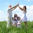 Family with children in summer day outdoors - Stock Photo