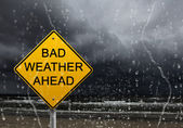 Warning sign of bad weather ahead — Стоковое фото