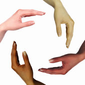 Human hands as symbol of ethnical diversity — Stock Photo
