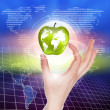 Hands holding apple representing earth — Stock Photo #5892862