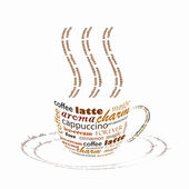 Coffee cup made up with words — Stock Photo