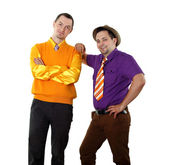 Two young man in bright colour wear — Stock Photo