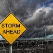 Warning sign of bad weather ahead - Stock Photo