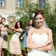 Young bride in white wedding dress - Foto Stock