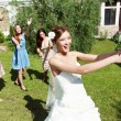 Young bride in white wedding dress — Foto de Stock
