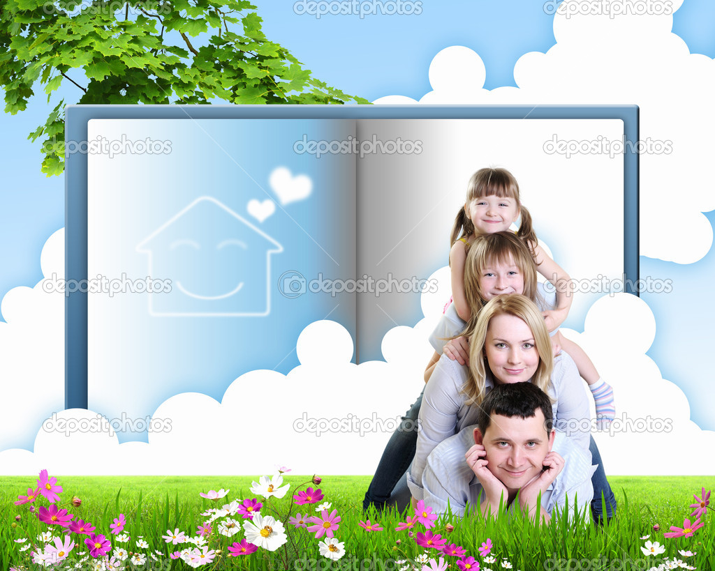 Happy family spends time together on nature . Collage. — Stock Photo #5958709