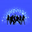 Stock Vector: Disco dancing and young