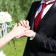 Stock Photo: Shot moment when groom puts ring
