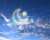 Estrela muçulmana e a lua no céu azul — Foto Stock