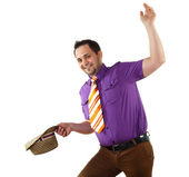 Young happy man in bright colour wear — Stock Photo