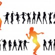 Disco dancing and young — Imagen vectorial