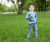 Portrait of a little boy outdoors — Stockfoto