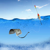 Fish hook underwater with banknotes — Stock Photo