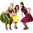 Three young woman in bright colour dresses — Stock Photo #6014194
