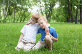 Portrait of two boys outdoors — Stock Photo