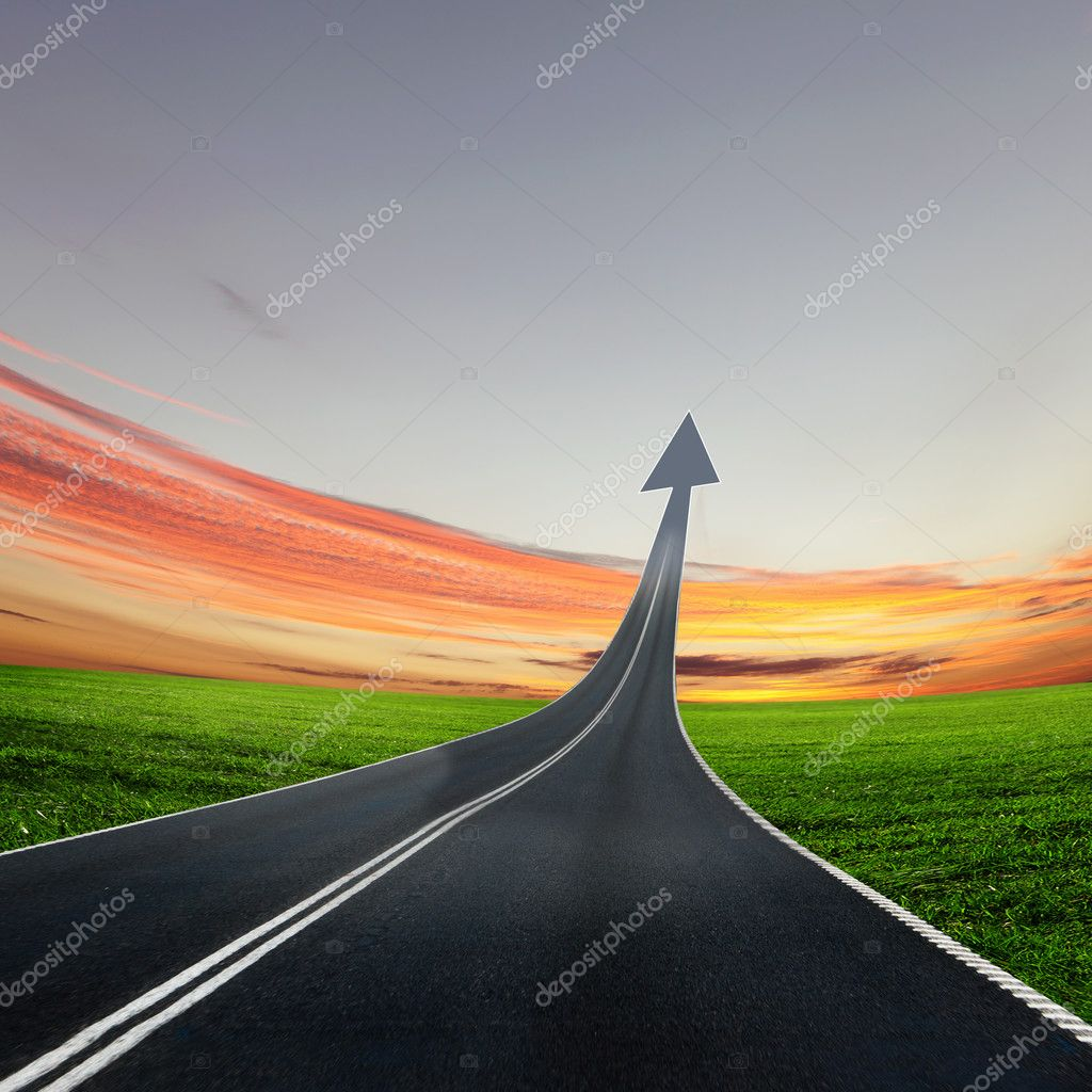 Highway road going up as an arrow — Stock Photo #6014056